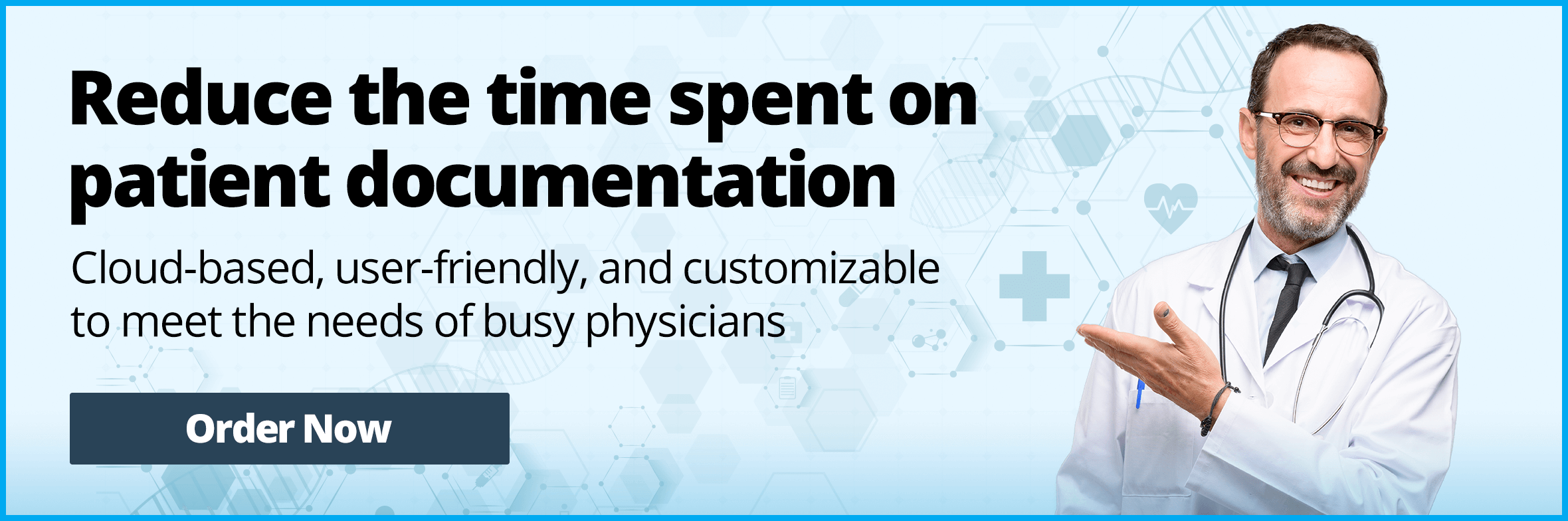 Reduce the time spent on patient documentation. Cloud-based, user-friendly, and customizable to meet the needs of busy physicians.